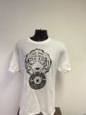 Shere Khan Sound T-Shirt w/ Tiger Holding Dubplate - White / Black Print (Various Sizes)